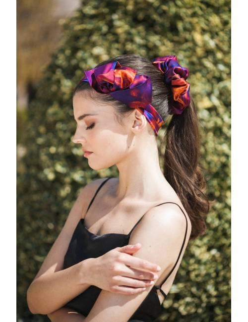 Silk brown scrunchie large hair scrunchie woman big