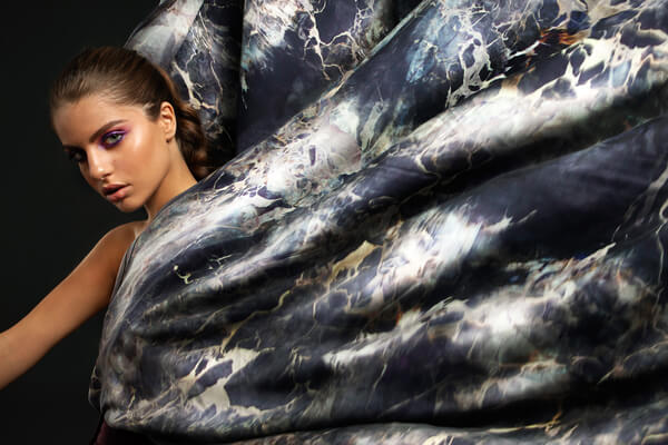 Woman with big silk scarf