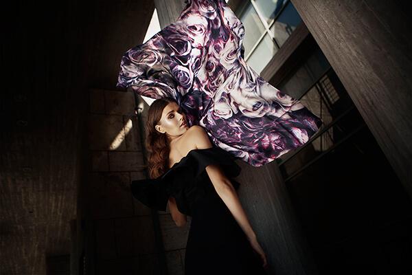 Woman with purple silk scarf