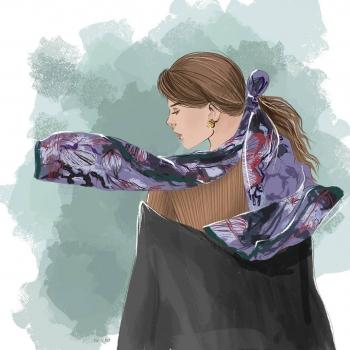 Illustrator Ou Viktoria interpreting a look inspired by the Fischia scarf! • • • #betandmalfie#betandmalfiegirls#youwearitbetter#TheEndlessSelf#scarf#scarves#silkscarf#silkscarves#silk#longsilkscarf#squaresilkscarf#skinnysilkscarf#madeinEurope#sustainablefashion#ethicalfashion#womensfashion#art#fashion#design#style#travelling#welltravelled#shoponline#greekdesigners#greekinspired