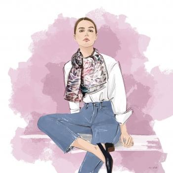 Ou Viktoria's artistic interpretation of the Evelyn scarf! • • • #betandmalfie#betandmalfiegirls#youwearitbetter#TheEndlessSelf#scarf#scarves#silkscarf#silkscarves#silk#longsilkscarf#squaresilkscarf#skinnysilkscarf#madeinEurope#sustainablefashion#ethicalfashion#womensfashion#art#fashion#design#style#travelling#welltravelled#shoponline#greekdesigners#greekinspired